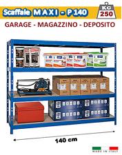 Scaffalatura per Box, Garage, Magazzino | L.140 x P.50 x H.180 | 4 Ripiani | BLU