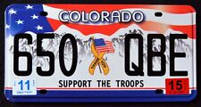 """COLORADO """" SUPPORT THE TROOPS - FLAG """" Military Specialty License Plate"""