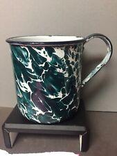 RARE MINERS MUSH CUP CHRIPOLITE EMERALD GREEN & WHITE SWIRL - GRANITEWARE -