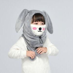 Winter Kids Adult Cute Grey Rabbit Movable Ear Balaclava Outdoor Mask Hat Scarf