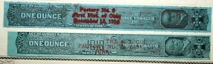 Lot of 2 Series 1910 1 Ounce Tobacco Revenue Stamps