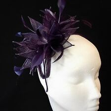 Dark Purple Sinamay and Feather Fascinator For Races, Proms , Weddings
