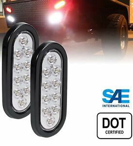 "2 - Oval 6"" Clear/White Oval 10 LED Trailer Truck Stop Turn Tail Lights 12V"