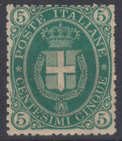 REGNO D'ITALIA 1889 STEMMA 5 CENTESIMI N.44 G.I MNH** CERT. BEN CENTRATO