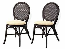 Set of 2 Denver Dining Side Chairs Design Handmade Rattan Wicker, Dark Brown