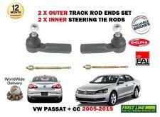 FOR VW PASSAT + CC 2005-> 2 X OUTER + 2x INNER STEERING TRACK RACK TIE ROD ENDS