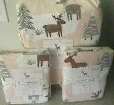 Pottery Barn Kids winter reindeer FLANNEL FULL QUEEN duvet shams ORGANIC