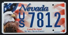 """NEVADA """" UNITED WE STAND """" 9/11 - EAGLE - FLAG """"  NV Specialty License Plate"""