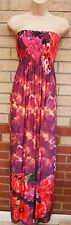 NEW YORK LAUNDRY PINK RED GREEN FLORAL LYCRA BANDEAU LONG MAXI FLIPPY DRESS 8 S