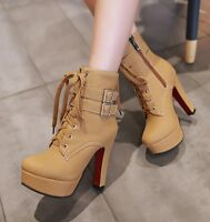 Women Zip High Heels Lace up Buckles Platform Party Ankle Boots Shoes EUR 33-47