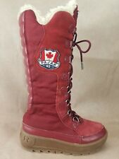 Pajar Canada Winter Snow Boots Size 5-5.5 Womens Red Suede Sherpa Lining