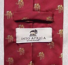 INTO AFRICA HANDMADE MENS NECKTIE DARK RED GOLD ELEPHANT PATTERN 1990s VINTAGE