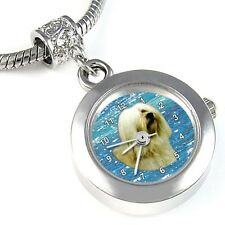 Havanese Dog Silver Quartz Watch European Spacer Charm Bead For Bracelet EBA103