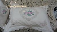 "Vintage Battenburg Lace Pillow Case/Sham~Beige~21""*27""~Flower in Mirror~"
