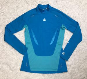 Adidas Techfit Mens Compression Shirt Size L Large Blue Climawarm Mock Neck EUC