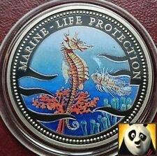 1995 PALAU $1 One Dollar Marine Life Protection Fauna and Flora Coloured Coin