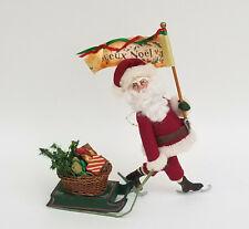 "EXTREMELY RARE 2002 SIGNED GLADYS BOALT SANTA with SLED CHRISTMAS ORNAMENT 9"""