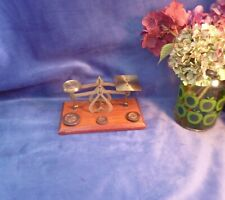 More details for victorian postal scales, brass, mahogany, weights