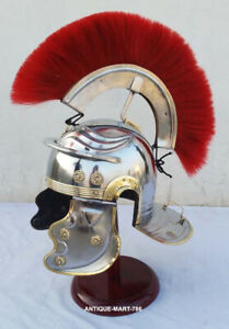 Medieval Roman Centurion Helmet with Red Plume & Fitted Leather Liner Stand Free