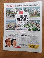 1959 Watkins Ad Sweepstakes Dream Vacations Hawaii Montana New York City Miami