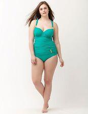 Caribbean Green~44DD~Lane Bryant Plus Size Strappy Back Swimsuit Tankini Top!!