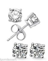 Sterling Silver CZ Clear Crystal Ear Stud Studs Round Earrings 6mm Pair