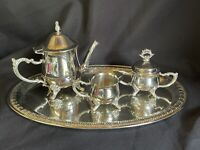 Silver Plated Tea Set, Tea Pot, Sugar, Creamer, Tray-Made In China