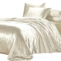 SATIN QUILT COVER King Size Ivory Cream Luxury Silk Feel Duvet Doona Bedding Set