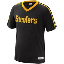 New Mitchell & Ness NFL Pittsburgh Steelers Black Overtime Win Vneck Tshirt