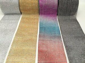 Reduce To Clear Diamante Effect Rhinestone Mesh Ribbon Trimming Bridal Craft