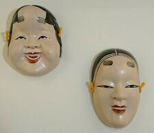 2 Decorative Japanese Ceramic Noh Face Ko-Omote Masks Wall Hangings