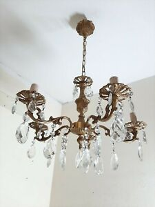 Vintage Chandelier Italian  Brass Metal & Chrystal Chandelier Lamp Five Arms