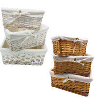 Wicker Storage Basket Willow Hamper Set Lining Small Medium Large UK