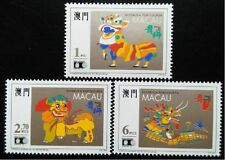 Macau 1992 Lion & Dragon Dances (3v Cpt) MNH CV7-