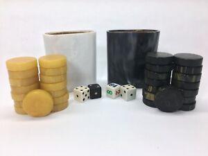 Vintage Crisloid Bakelite Backgammon Checkers Swirl Black, Butterscotch Lot