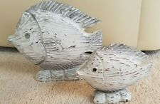 Set of 2 Carved Wood Fish Decor, White Wash/Grey/Stressed Look, Very Pretty