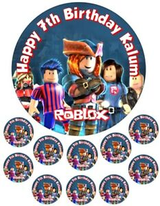 """Roblox   6.5"""" round  and 10 Smaller 1.5""""   Edible Icing Cake Topper"""