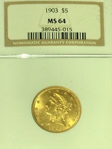 1903 5 gold coin MS64 PCGS