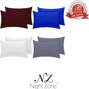 Pair of Plain Dyed 100% PolyCotton Pillow Cases Soft Touch Cosy Pillow Cases
