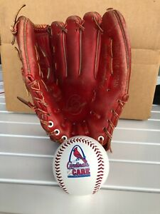 RARE Stan Musial RED Montgomery Ward Baseball Glove and Cardinals Care Baseball