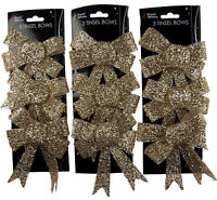 Set Of 9 Glitter GOLD Bow Christmas Tree Baubles Decorations