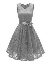 Womens Sleeveless Vintage Lace Rockabilly Swing Skater Party Evening Retro Dress