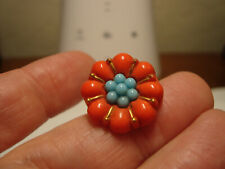 Antique AMAZING glass REALISTIC flower button