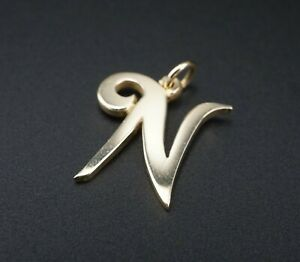 """Retired Size 3/4"""" James Avery 14k Gold Large Script Initial N Charm CHS1533"""