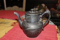 Antique Aurora Warranted Triple Plate Teapot 46 Engraved Flowers Women