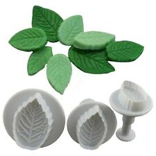 Cake Rose Leaf Plunger Fondant Decorating SugarCraft Mold Cutter Tools [3 Pcs]