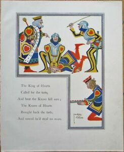 Lawson Wood/Artist-Signed 1920s Print: Playing Card Figures, King of Hearts