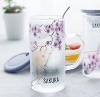 Sakura Floral Transparent Glass Coffee Mug set Milk Water Cup with Spoon Gift
