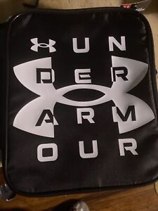Under Armour Scrimmage Lunch Box Black w/ White Print Crush Resistant Thermos