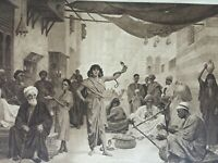 ANTIQUE PRINT DATED 1901 THE SNAKE CHARMER BY FREDERICK GOODALL PAINTING ART